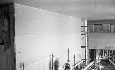 Rivera Diego's mural covered by workmen at Rockefeller Center 1934. Photo by Lucienne Bloch, Diego's assistant at the time