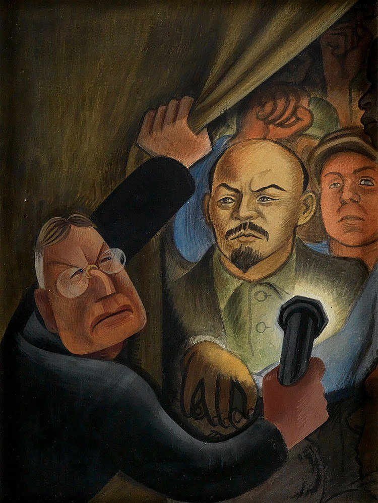 A charicature of John D. Rockefeller, Jr. discovering the controversial portrait of the Soviet Union leader Vladimir Lenin in Rivera's mural, Man at the Crossroads, at Rockefeller Center, New York. Rivera's inclusion of Lenin's portrait so incensed Rockefeller that he ordered Rivera to stop work and the murals were destroyed before their completion.
