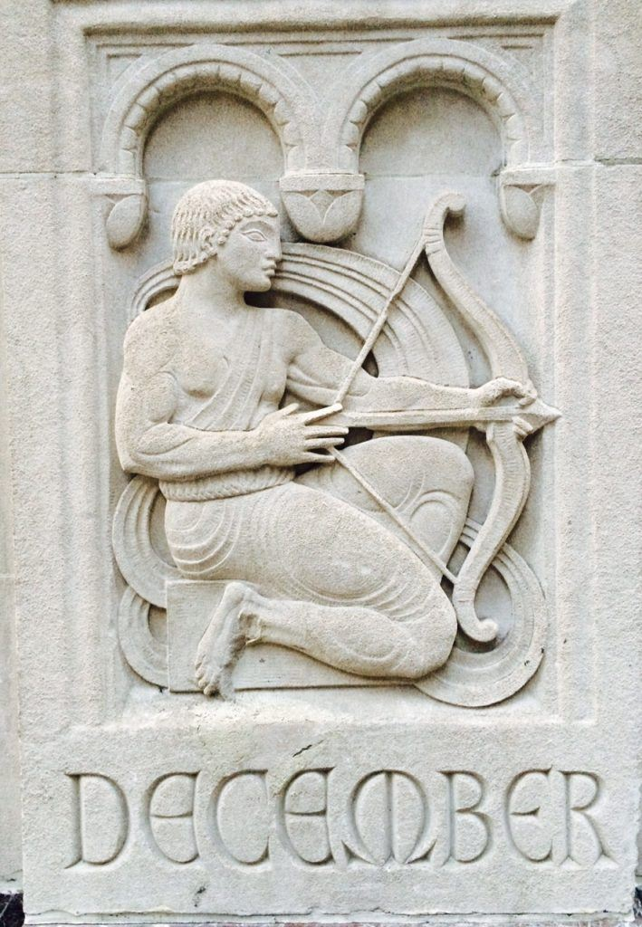 4c. Salmon Tower (11 West 42nd St).. Detail of zodiac symbol, facade ornamentation