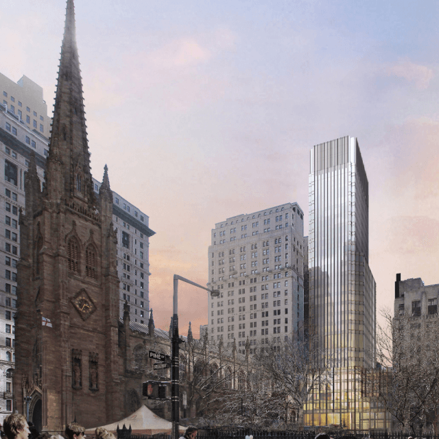 Trinity Church reveals plans for $300M Pelli Clarke Pelli-designed tower to rise behind historic church