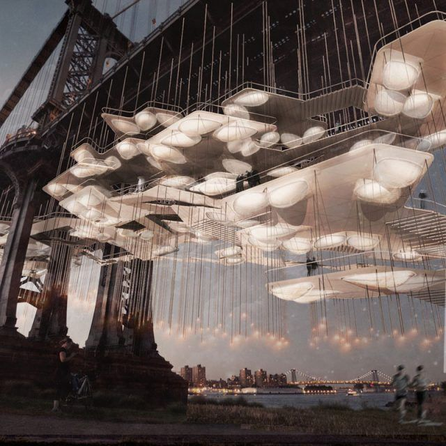 Columbia University's DeathLab proposes a suspended cemetery of twinkling pods under the Manhattan Bridge