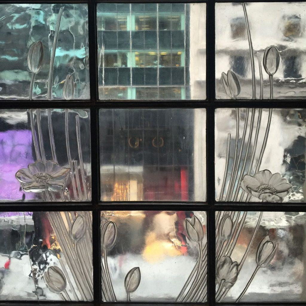 Rene Lalique window of Henri Bendel store, looking out over Fifth Avenue (2015)