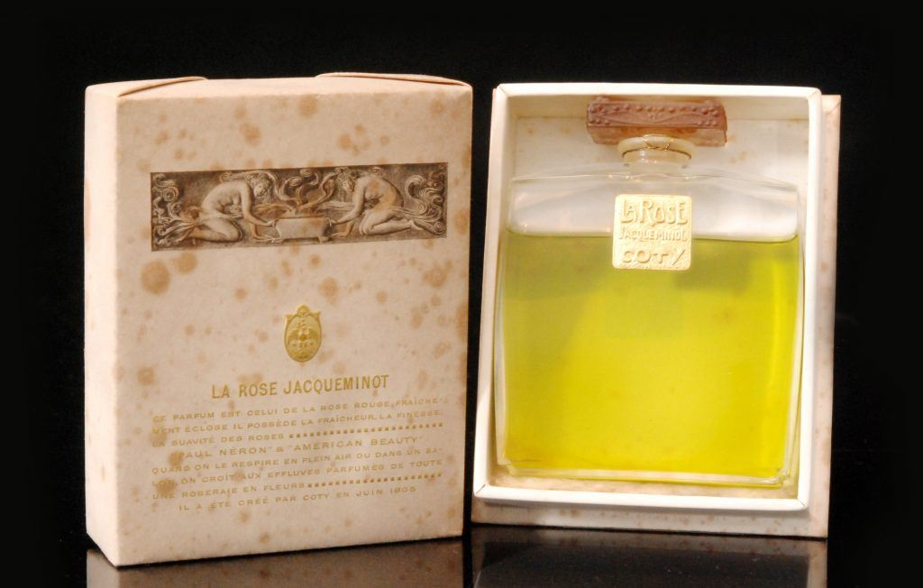 Coty, Vintage bottle and box for La Rose Jacqueminot perfume, 1904