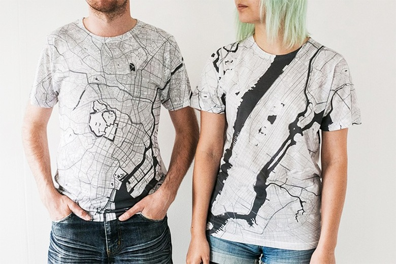 Citee t-shirts are covered with city maps from 230 different locations