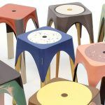 "Maor Aharon, ""Matter of motion"" stools, Centrifugal forces, colorful resins, Israeli design"
