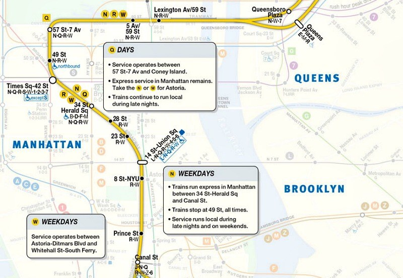 The W train returns today, see the MTA's new service map | 6sqft  Train Map on mta rail map, mumbai suburban railway map, rail lines map, new york city mta map,