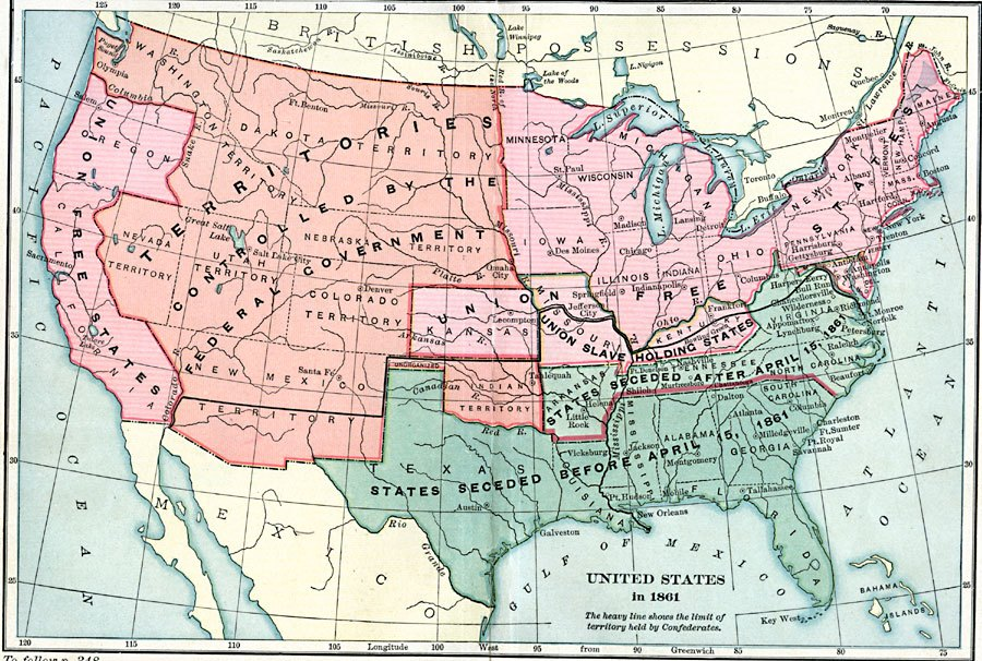 Map of Civil War, 1861