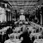 The Starlight Roof,, an ornately decorated ceiling, graces the dining room of the Waldorf-Astoria Hotel. January 4, 1935, New York City.   (Photo by Library of Congress/Corbis/VCG via Getty Images)