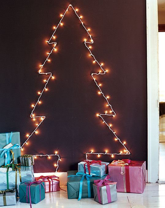 2d string light tree - 10 Eco-friendly Christmas Tree Alternatives For Small Spaces And
