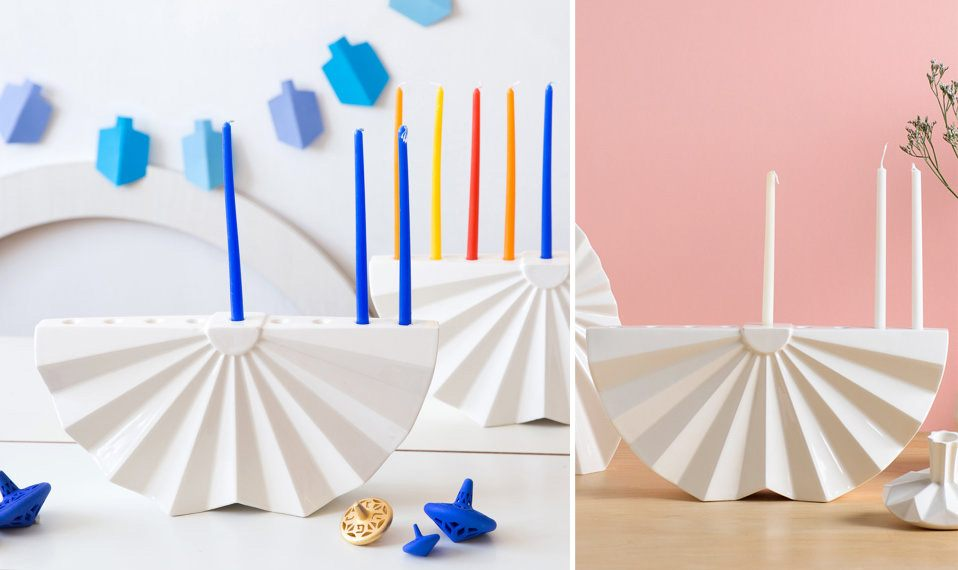 modern menorah design, origami menorah, Studio Armadillo
