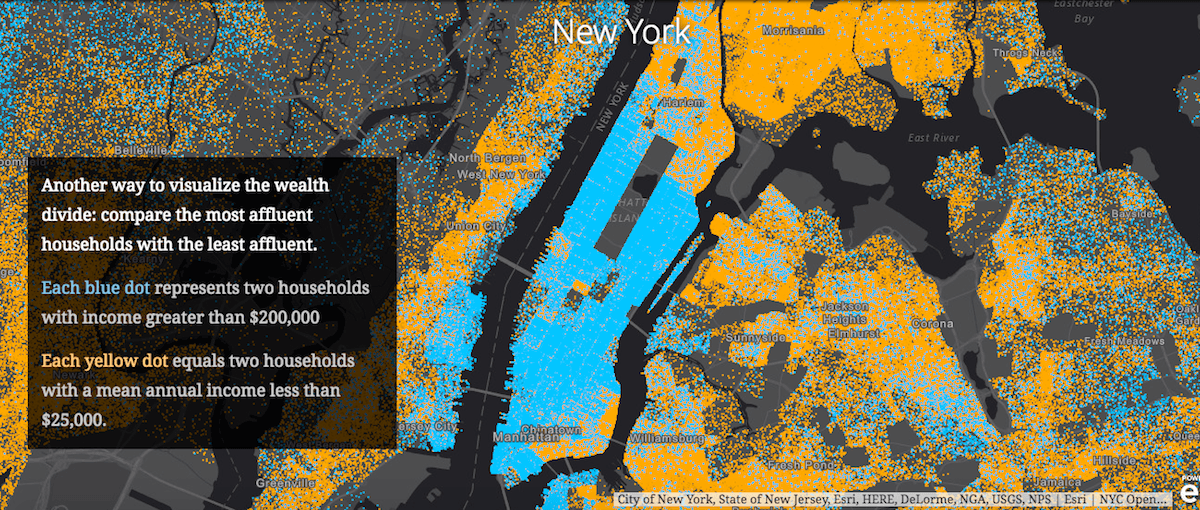 esri, wealth divides, maps, data visualization, shrinking middle class, gap between rich and poor, wealth, poverty, demographics, economic map, nyc maps, urbanism, american cities