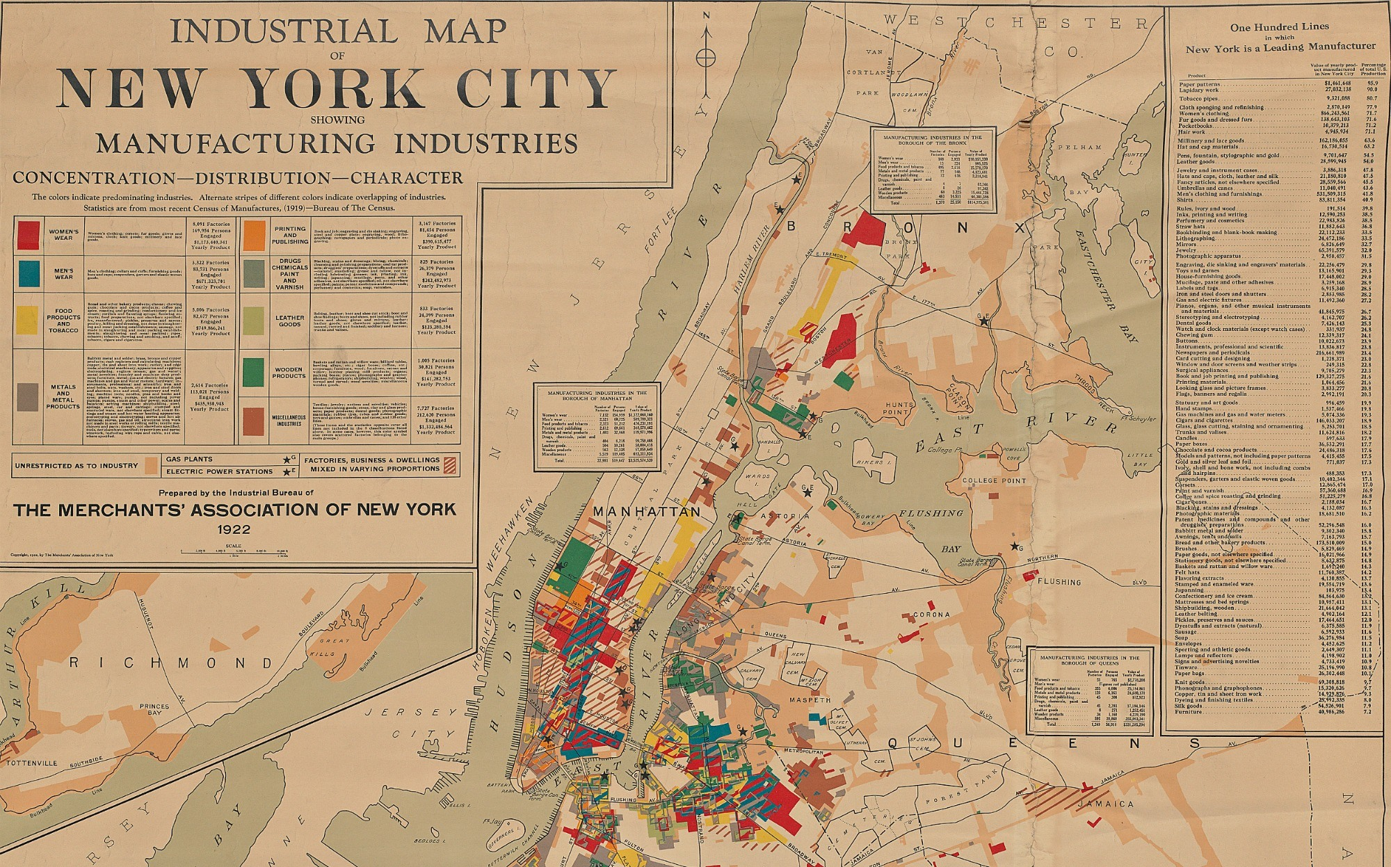 Historic Map Shows The Manufacturing Industries Of NYC Sqft - Nyc map