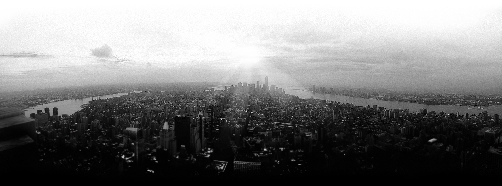 black and white NYC skyline buildings