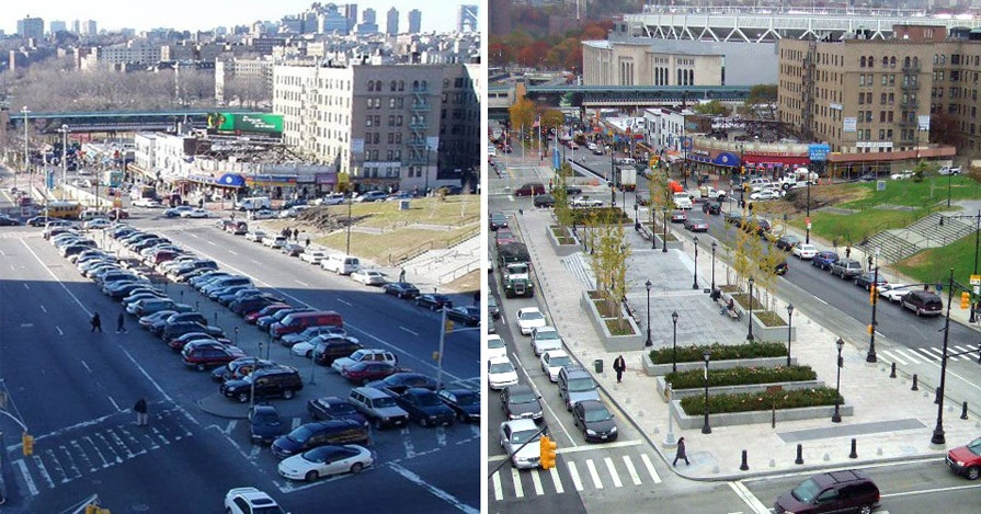 lou gehrig plaza bronx-grand concourse before and after