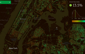 New York City trees, New York City nature, map of New York trees, MIT Senseable City Lab, green view index