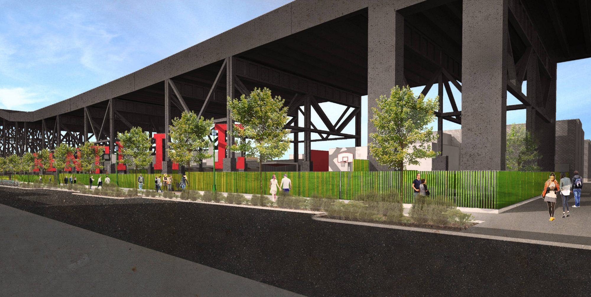 Under the Tracks Playground, Kentile Floors sign, Gowanus Alliance, Loci Architecture, Gowanus by Design