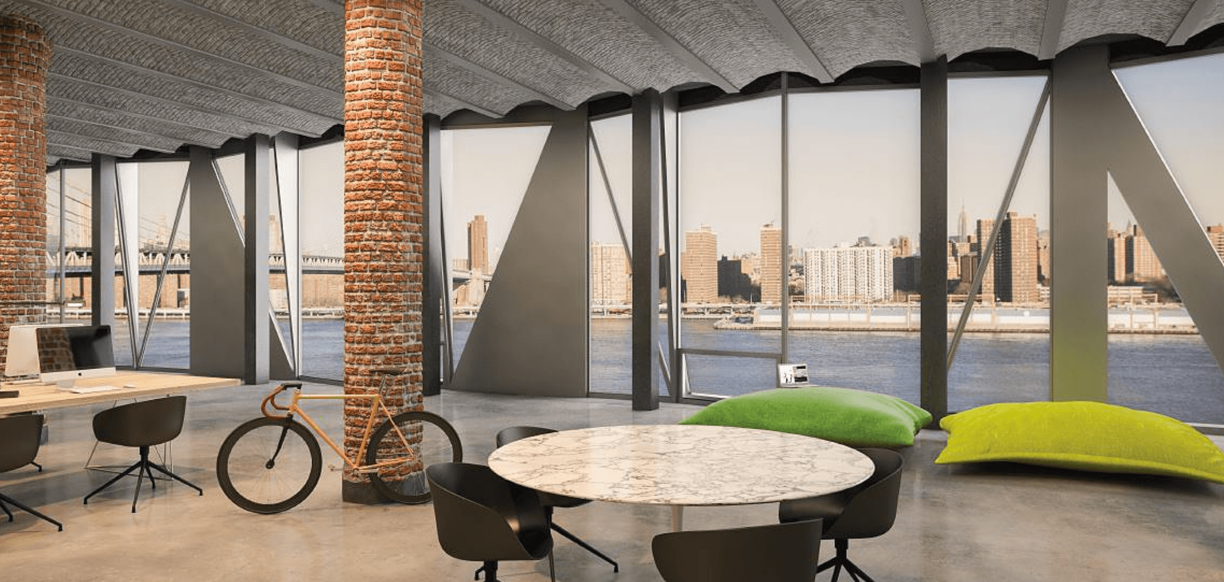 The Office Spaces Are Loft Like And Open, Highlighted By The Incredible  East River Views Through The Geometric Windows, Exposed Brick Columns, ...