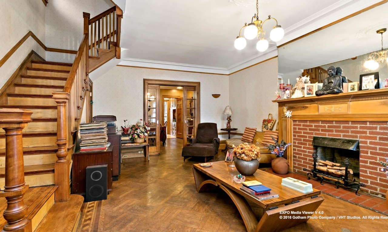 prospect lefferts gardens townhouse with lots of woodwork hits the