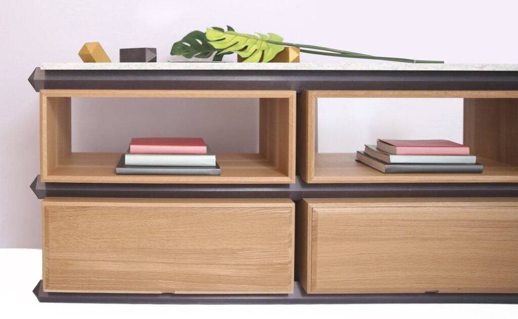 Stackable furniture line from Debra Folz Design makes storage stylish