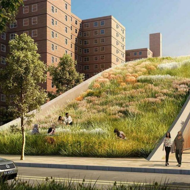 New renderings revealed for NYCHA's raised earth Red Hook Houses by KPF