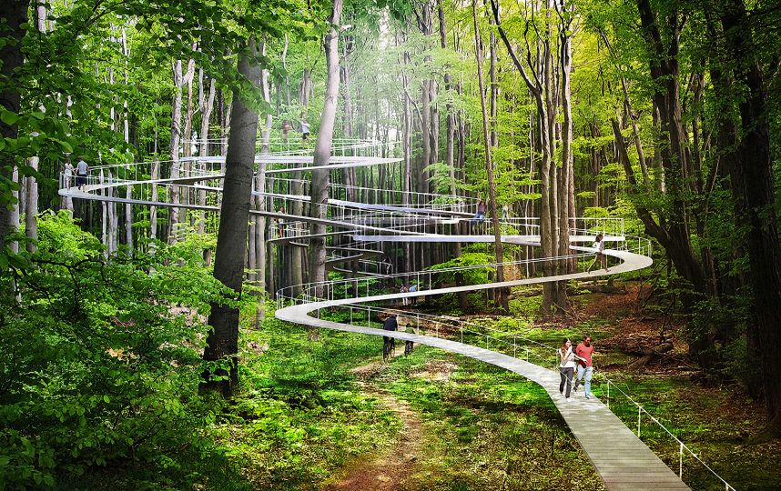 NYC design firm Dror designs a walkway that winds through the forest
