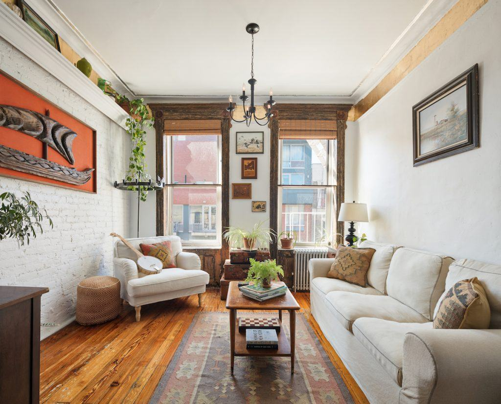 This 499k east village co op serves up modern rustic and - Modern apartment living room ...