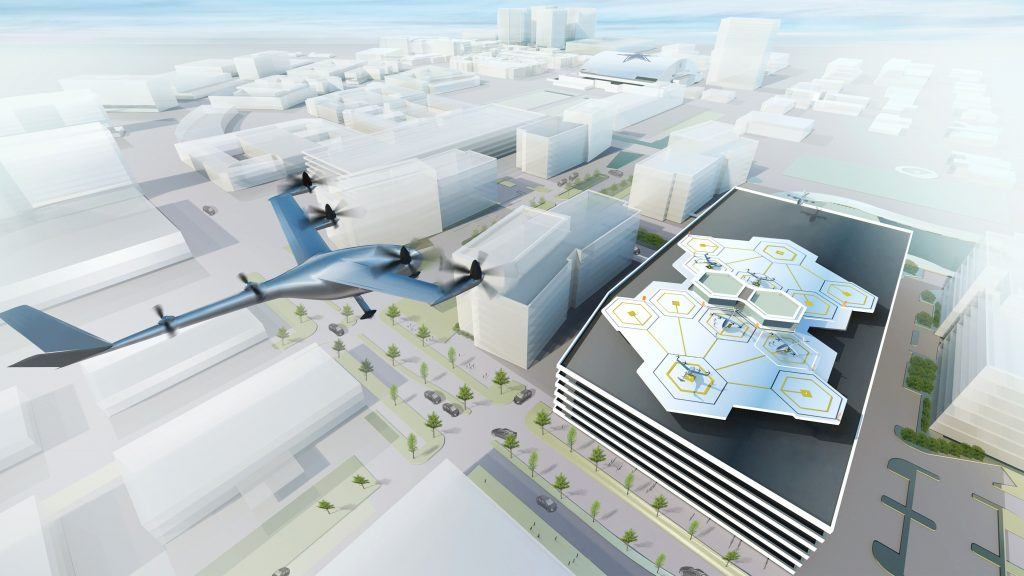 Uber VTOL, Flying Cars, Rendering of uber vtol