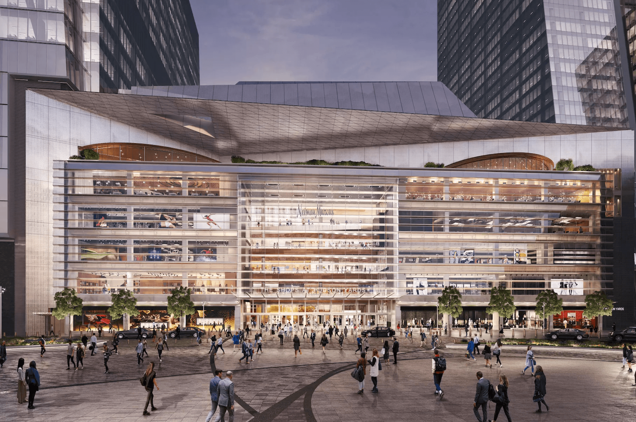 Hudson Yards food hall, Neiman Marcus Hudson Yards, Hudson Yards restaurants, Elkus Manfredi Architects