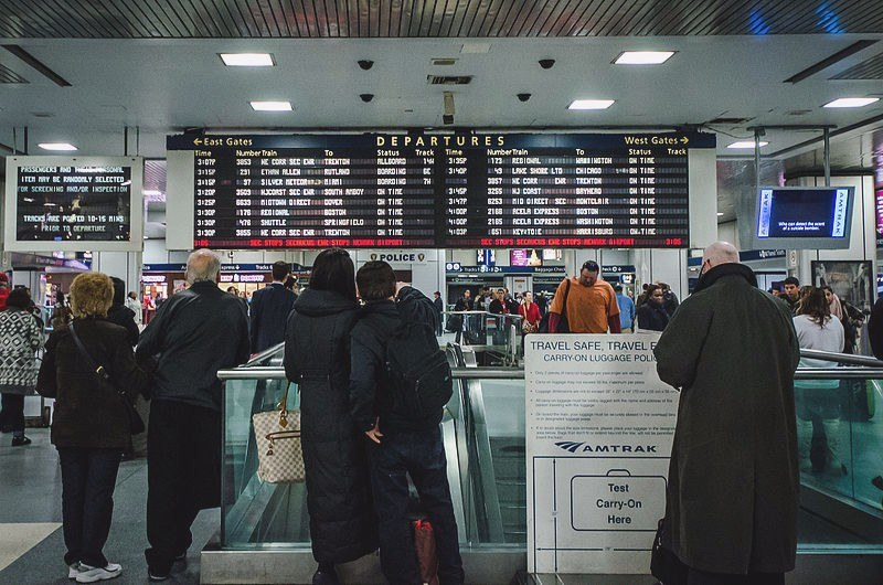 penn station, amtrak, departure board