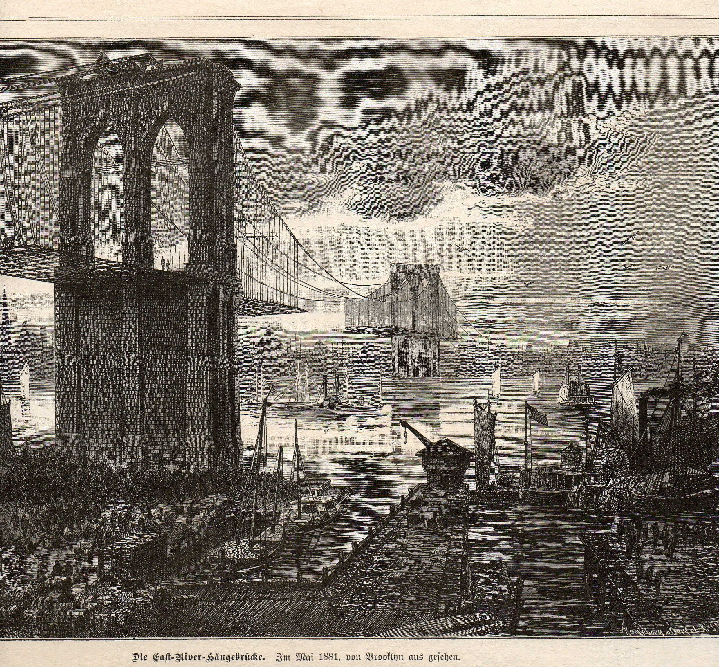 Top 10 secrets of the brooklyn bridge 6sqft the bridge needed to pass over the masts of ships and could not have piers or a drawbridge malvernweather Choice Image