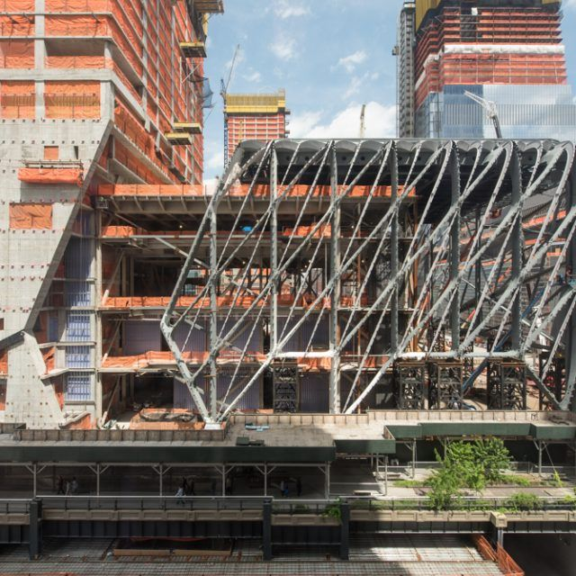 Hudson Yards' art center The Shed wraps up steel construction on its movable shell