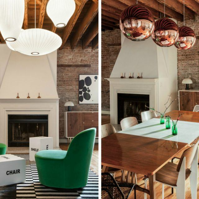 The New Design Project filled this rustic Jersey City loft with colorful, geometric accessories