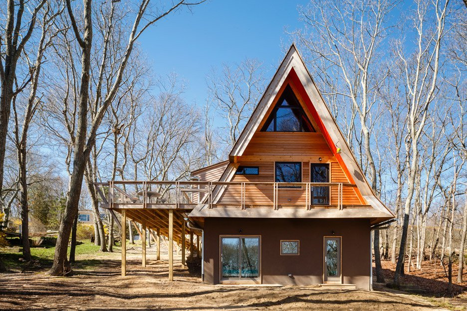 Doon Architecture turned a run-down A-frame cabin into a family-friendly Hamptons home