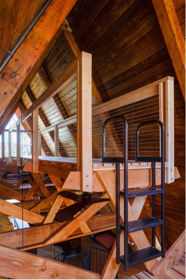 Doon architecture turned a run down a frame cabin into a for A frame interior