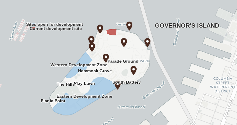 governors island, map, governors island development