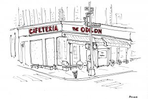 The Odeon NYC, All the Restaurants in New York, John Donohue, NYC restaurant drawings