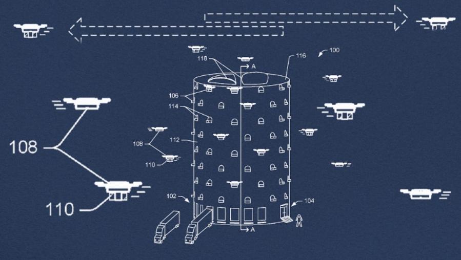 Amazon has patented a drone skyscraper designed for city delivery
