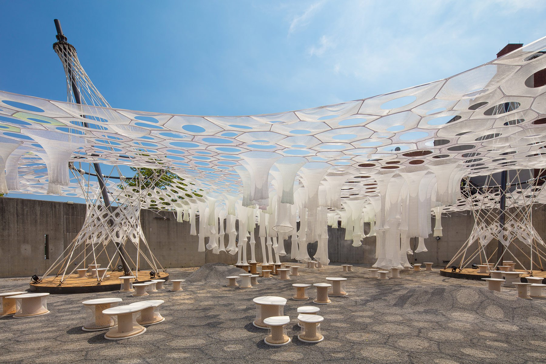 Pablo Enriquez for MoMA PS1 & Watch MoMA PS1u0027s solar canopy art installation get installed | 6sqft
