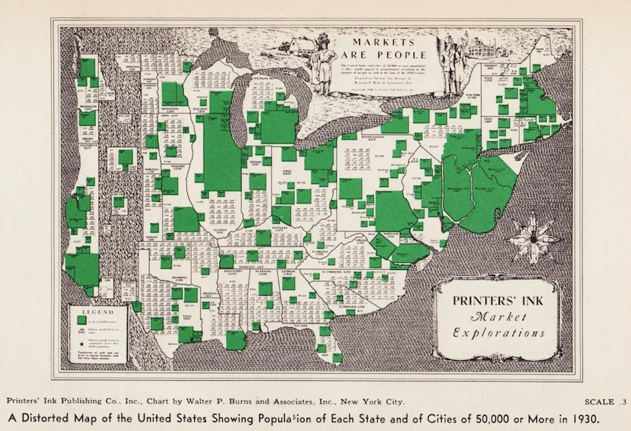 These Vintage Maps Reflect The Population Distribution Of Americans - Us-map-1930