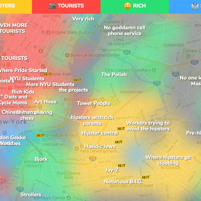Crowd-sourced maps show where tourists and hipsters land in every big city