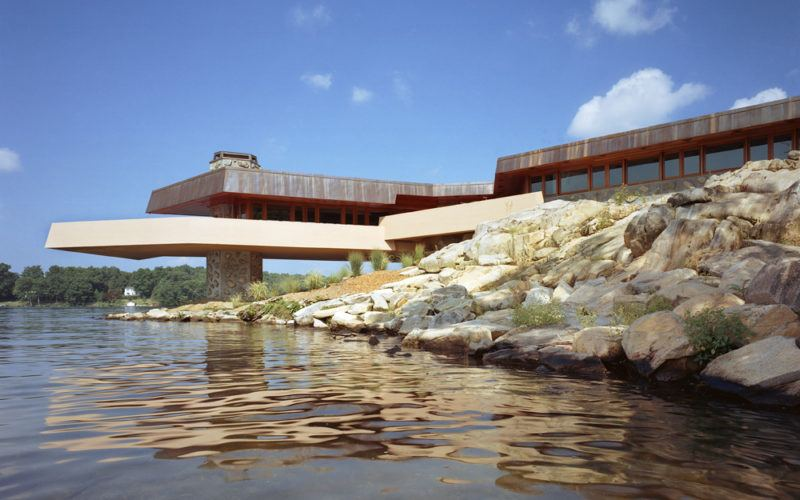 Frank lloyd wright designed house and heart shaped private - Frank lloyd wright designs ...
