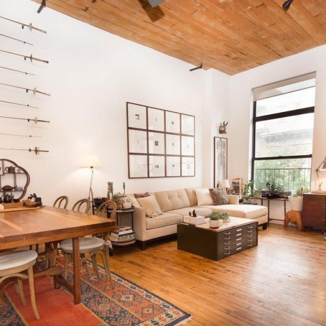 $4,500/month Williamsburg loft is lined with a 13-foot, raw plank ceiling