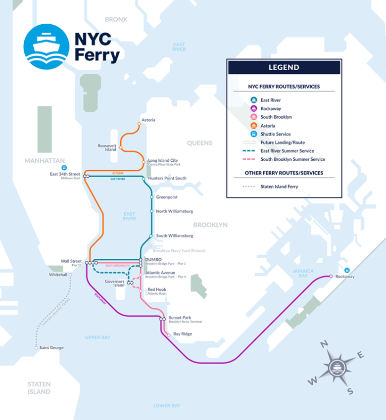 nyc ferry, ferry map