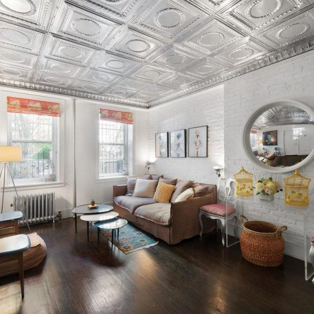 $1.55M garden duplex in Gramercy stands out with 1920s tin ceilings