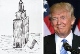 Julien's Auctions, Donald Trump drawing, Donald Trump doodle, Donald Trump Empire State Building