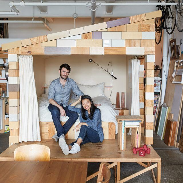 My 865sqft: A treehouse bed grows inside the Williamsburg loft of two creatives