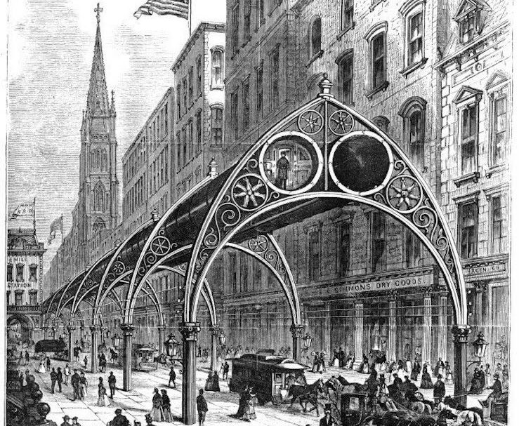 A never-built transit plan would have shuttled New Yorkers through elevated tubes
