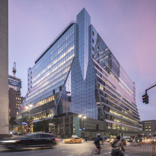 First look at REX's pleated-glass transformation of Brutalist 5 Manhattan West office tower
