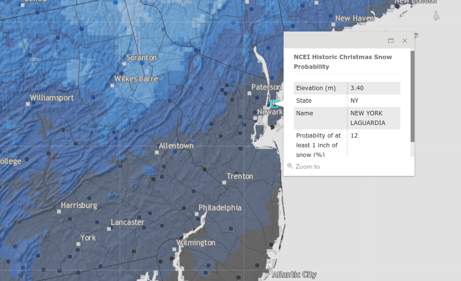 the darkest gray shows places where the probability is less than 10 percent and the white areas show probabilities greater than 90 percent - Will It Be A White Christmas