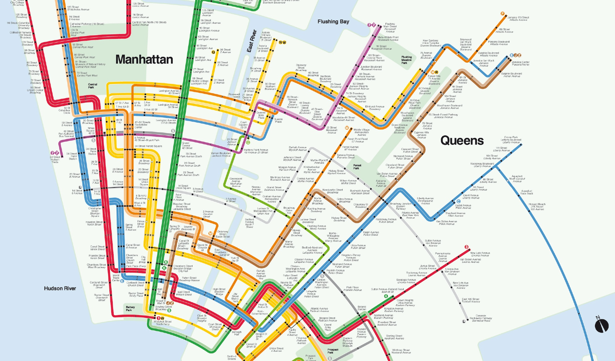 Nyc Subway Map Over Street Map.Artist Uses The Classic Vignelli Design To Reimagine The Nyc Subway